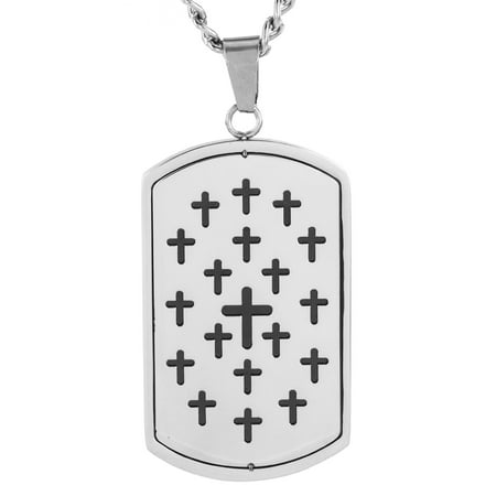 - Men's Stainless Steel Cut Out Cross Dog Tag Pendant