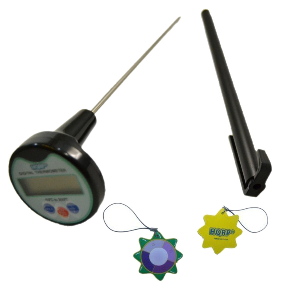 HQRP Digital Cooking Smart Thermometer for Testing the Temp of Hot and Cold Food and Liquids plus HQRP UV Meter