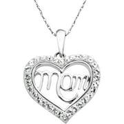Luminesse White Mom Heart Pendant Made W