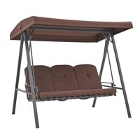 Barton Outdoor Adjustable Canopy 3 Person Swing Chair Bench Cushion Included, Brown