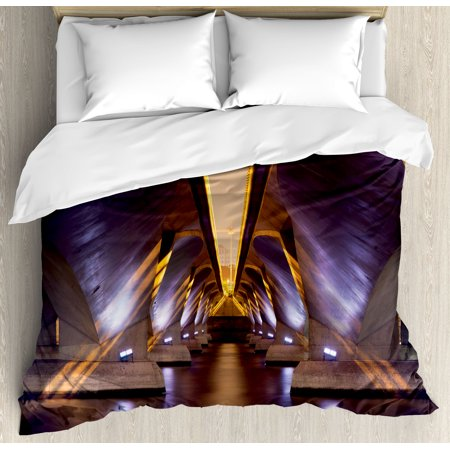 Ancient Decor King Size Duvet Cover Set, Sci Fi Style Asian Ethnic Modern Road Tunnel Urban Light Show City Image, Decorative 3 Piece Bedding Set with 2 Pillow Shams, Purple Golden, by Ambesonne