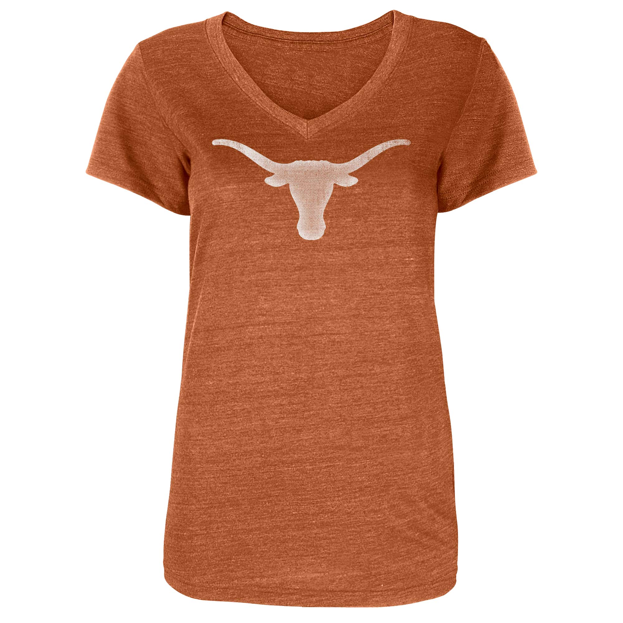 Women's Heathered Texas Orange Texas Longhorns Worn V-Neck T-Shirt