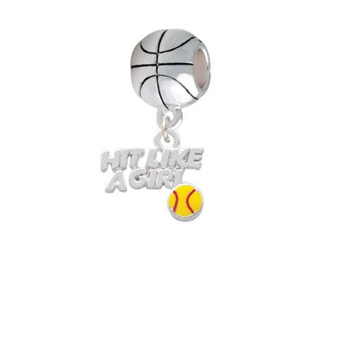 Hit Like a Girl with Enamel Softball - Basketball Charm Bead