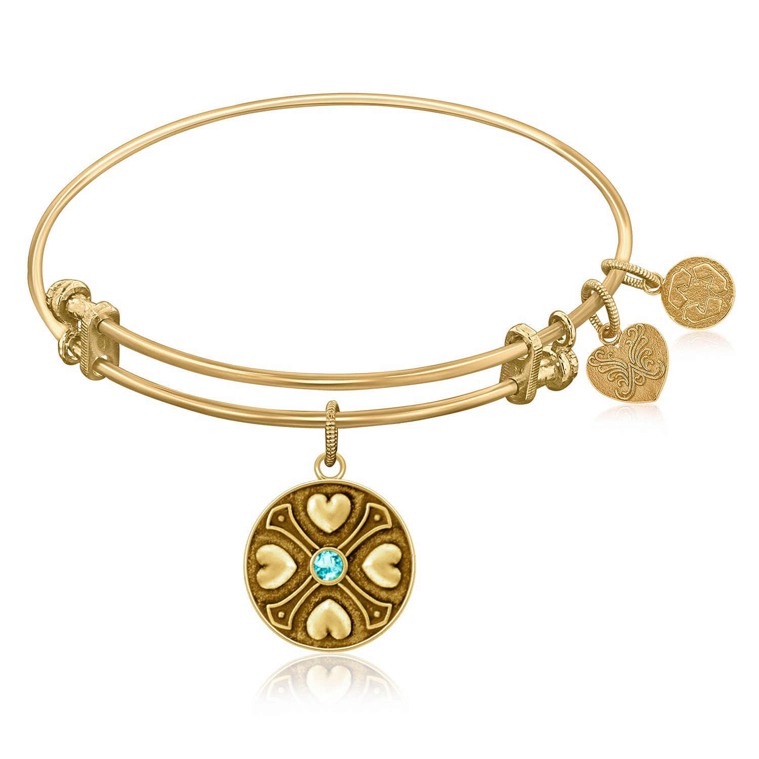 """Yellow Gold-Plated Brass Expandable Bangle with """"Aquamarine March"""" Symbol"""