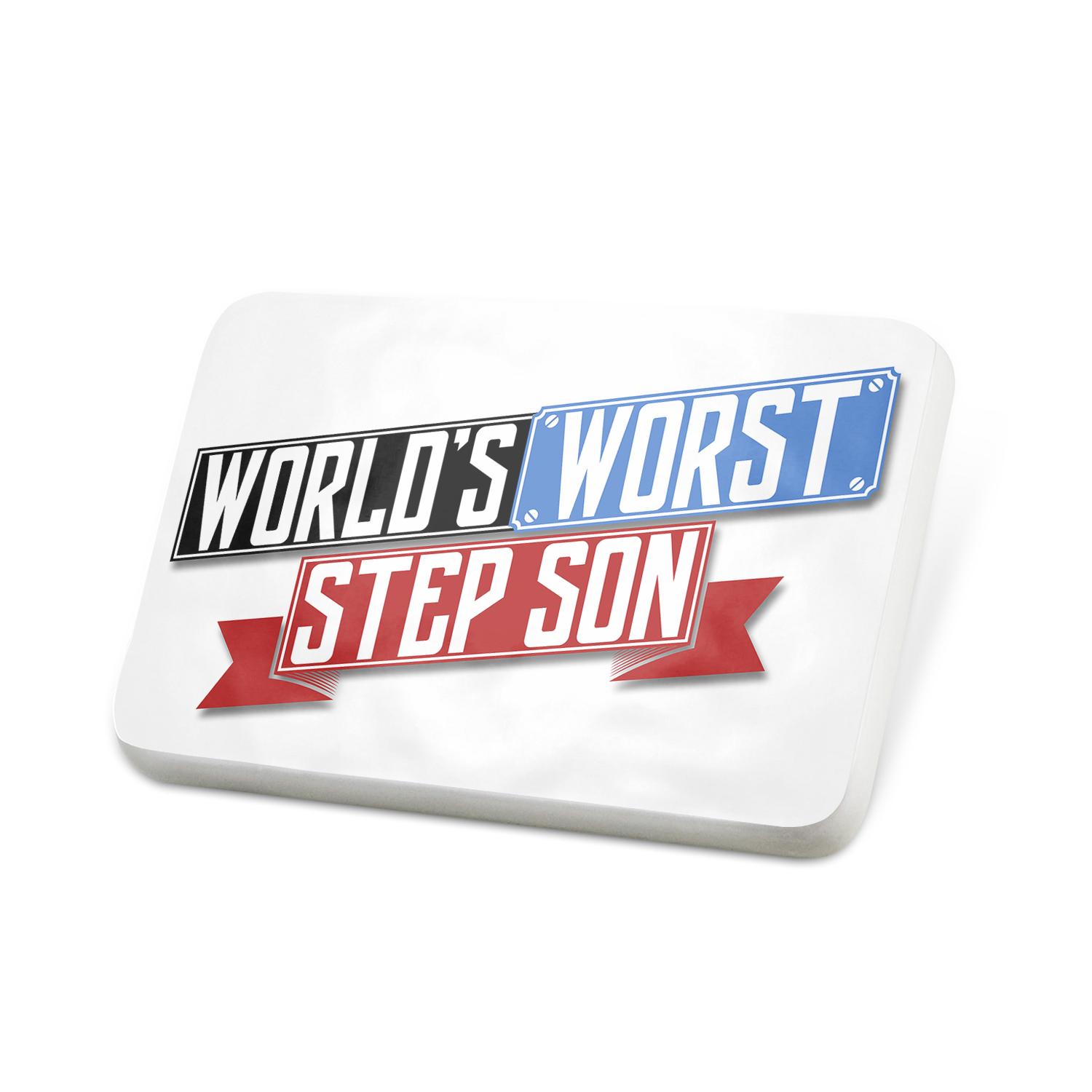Porcelein Pin Funny Worlds worst Step-Son Lapel Badge – NEONBLOND