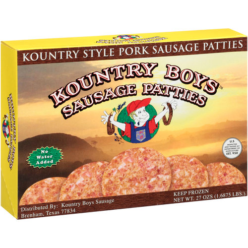 Kountry Boys Sausage Kountry Style Pork Sausage Patties, 27 oz