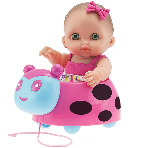 "JC Toys Berenguer 8.5"" Lil' Cutesies Doll with Ladybug Pull Along"