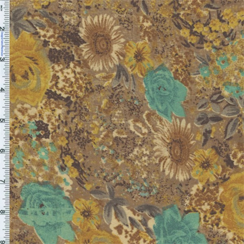 Bed of Golden Flowers Floral Euro Print, Fabric By the Yard