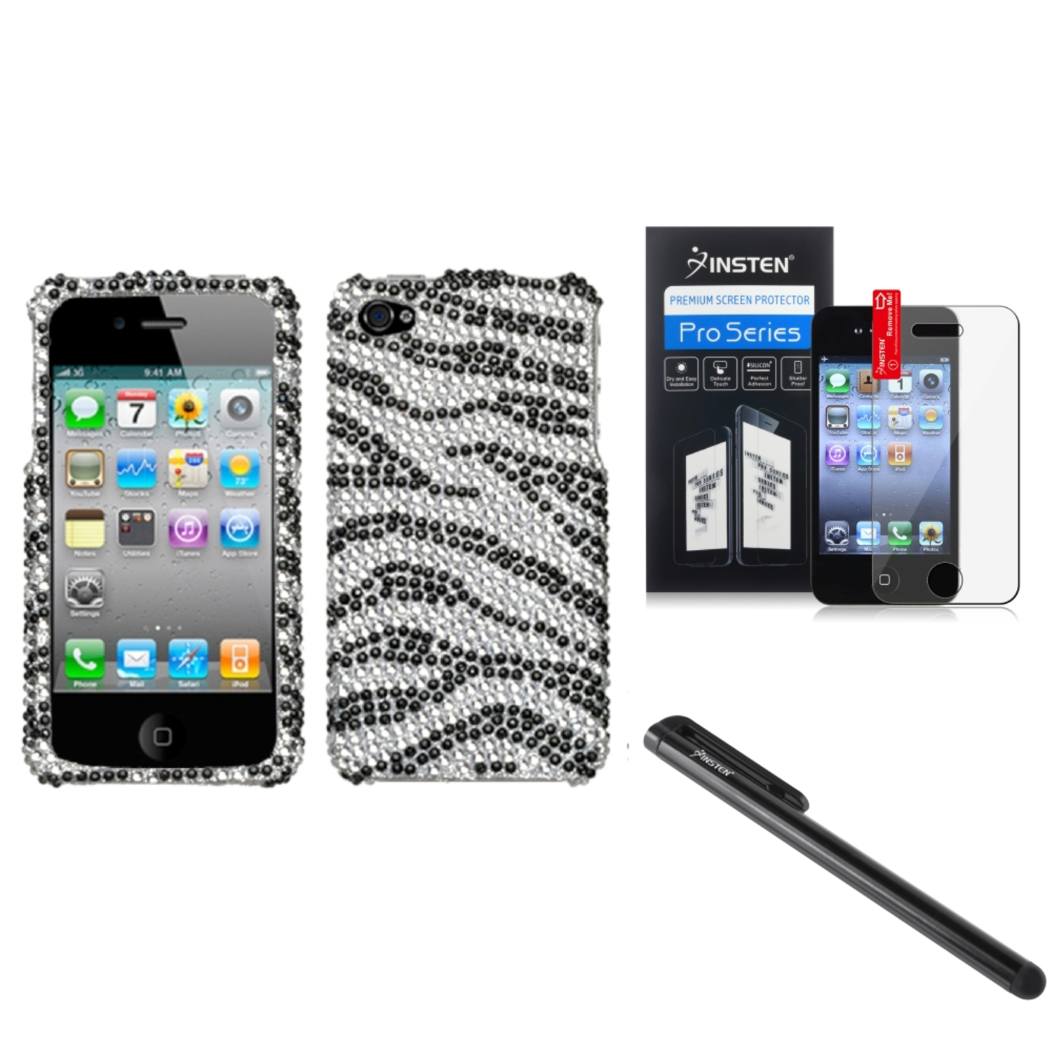 Insten Black Zebra Skin Diamond Case Bling Hard Cover For iPhone 4 4s LCD Film Pen
