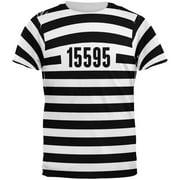 Halloween Prisoner Old Time Striped Costume All Over Adult T-Shirt - Large