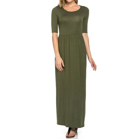 82 Days Women'S Rayon Span Jersey Maxi Long Dress with Elastic Waistband - Solid - Jersey Shore Dress Up