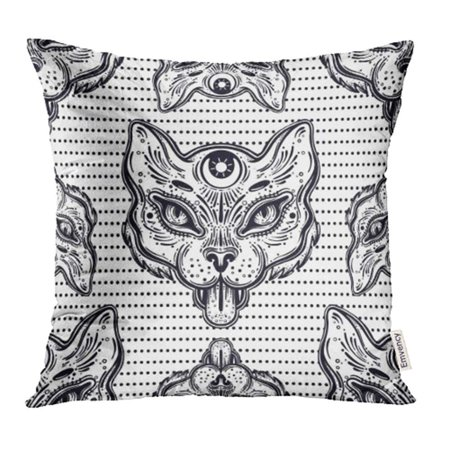 CMFUN Symbol Hand Draw of Cat Head Boho Style Design All Seeing Eye Animal Black Pillow Case Pillow Cover 20x20 inch Throw Pillow (Different Eye Black Styles)