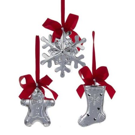 Gingerbread Snowflake Stocking Bell Hanging Plastic Ornaments, Silver, 4-Inch, 3-Piece (Plastic Snow Flakes)