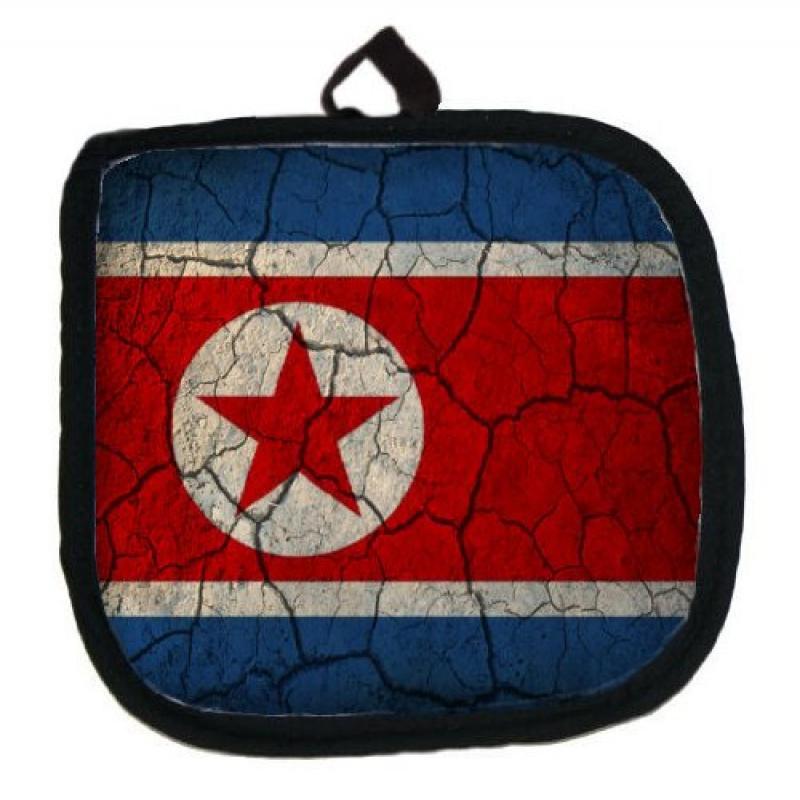 North Korea Flag Crackled Design Kitchen Pot Holder