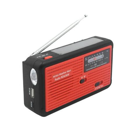 RD636W Digital FM AM NOAA Weather Radio Power Bank 1000mAh Rechargeable Battery Solar Hand-crank Emergency LED Flashlight Micro USB (Radio Shack Portable Power Bank Not Charging)