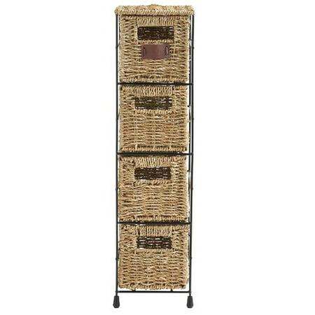 VonHaus 4 Tier Seagrass Storage Basket Tower Unit ()