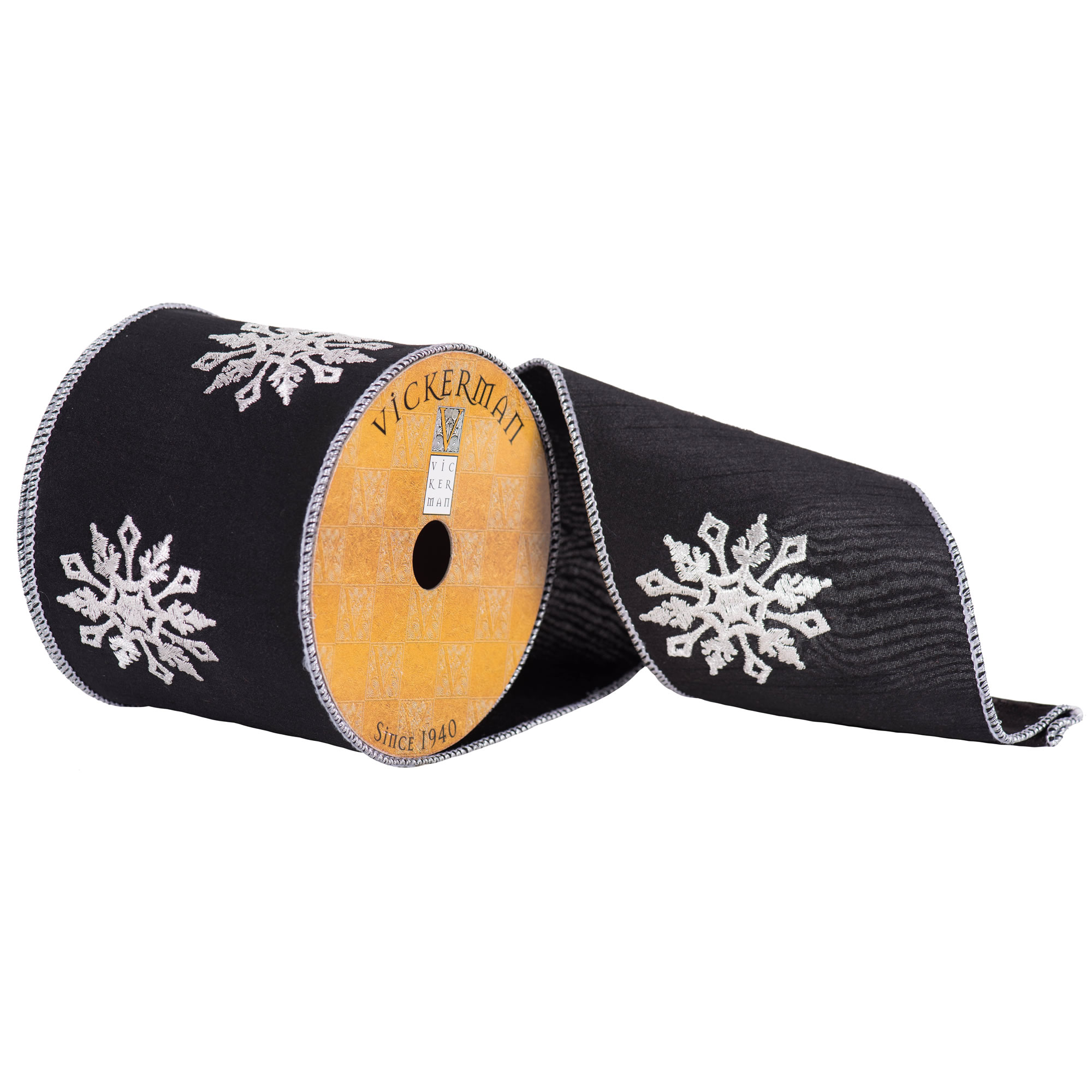 "4"" x 10yd Black with White Snowflakes"