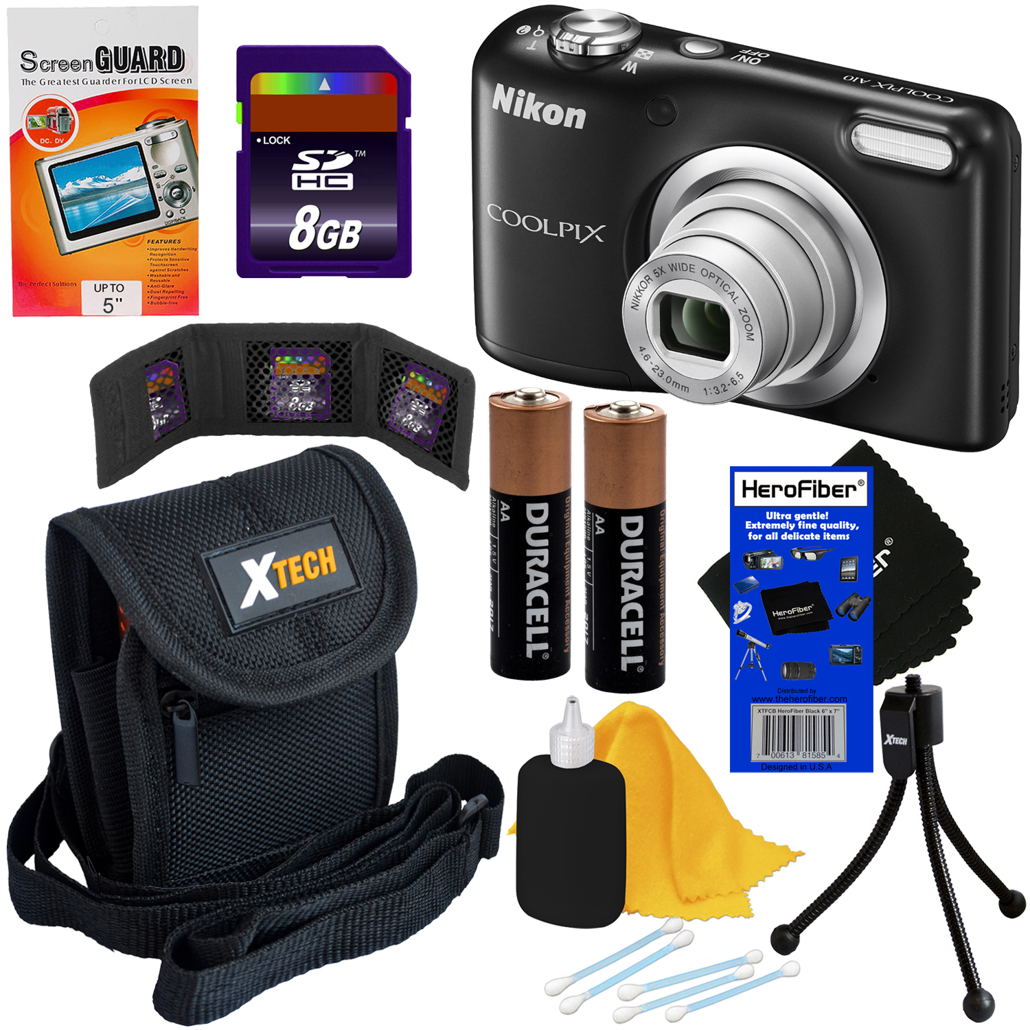 Nikon COOLPIX A10 16.1 MP Digital Camera with 5x Zoom NIKKOR Lens & 720p HD Video, (Black) + 7pc Bundle 8GB Accessory Kit w/ HeroFiber® Ultra Gentle Cleaning Cloth