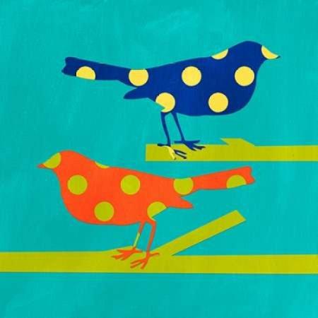 Navy and Orange Birds Poster Print by Linda Woods