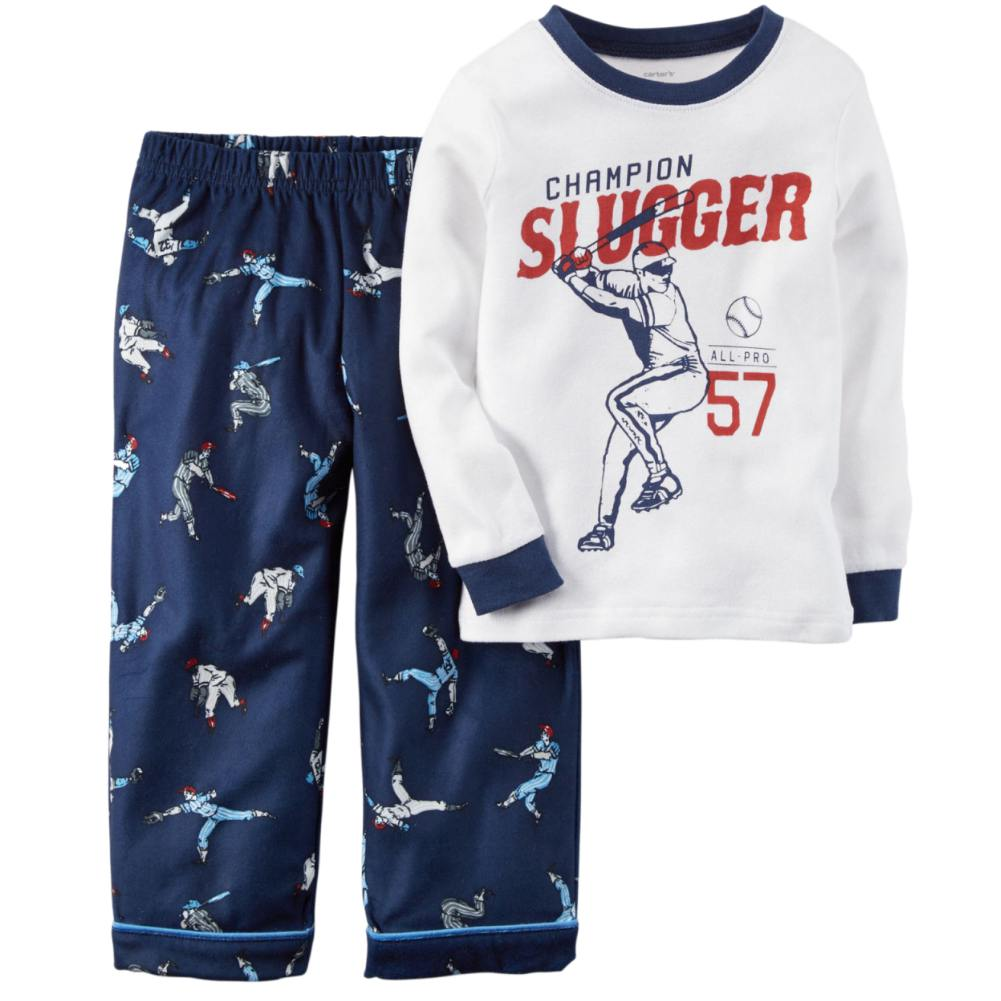aa2fccd438a6 Carters - Carters Boys White   Blue Baseball Sleepwear Champion ...