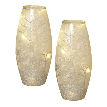 (Frosted Glass Vase with Glitter Winter Accents (Set of 2))