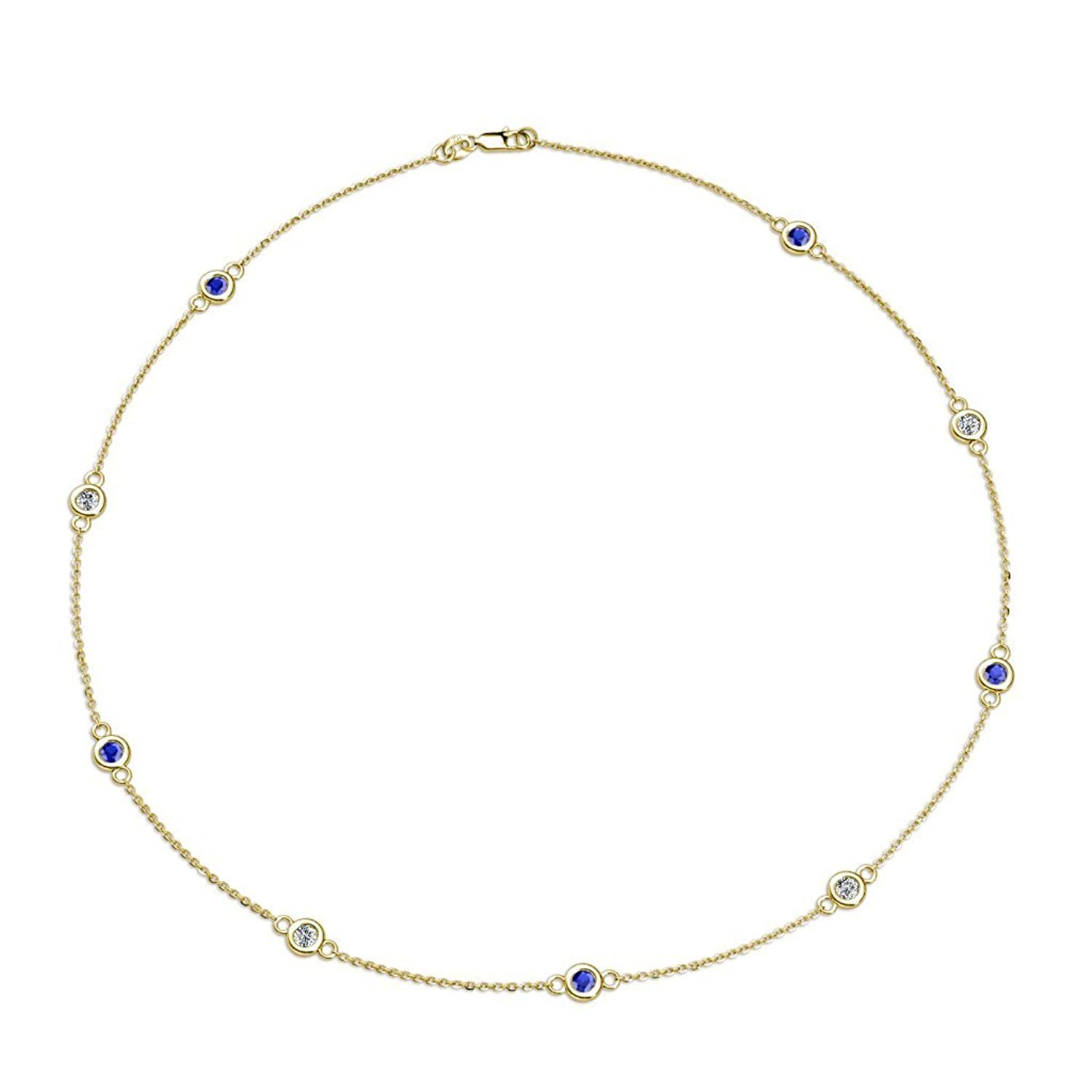 Blue Sapphire and Diamond (SI2-I1, G-H) 9 Station Necklace 1.39 cttw in 14K Yellow Gold by TriJewels