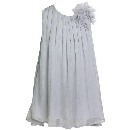 Pretty Dresses For Sale (Girls Silver Pretty Chiffon Junior Bridesmaid Dress)