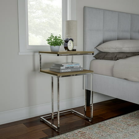 Two-Tier End Table- C Shaped Sofa Side Table with Two Shelves, Contemporary Style Chrome Metal Stand for Living Room or Bedroom by Lavish Home (Gray) Heart Shaped Occasional Table