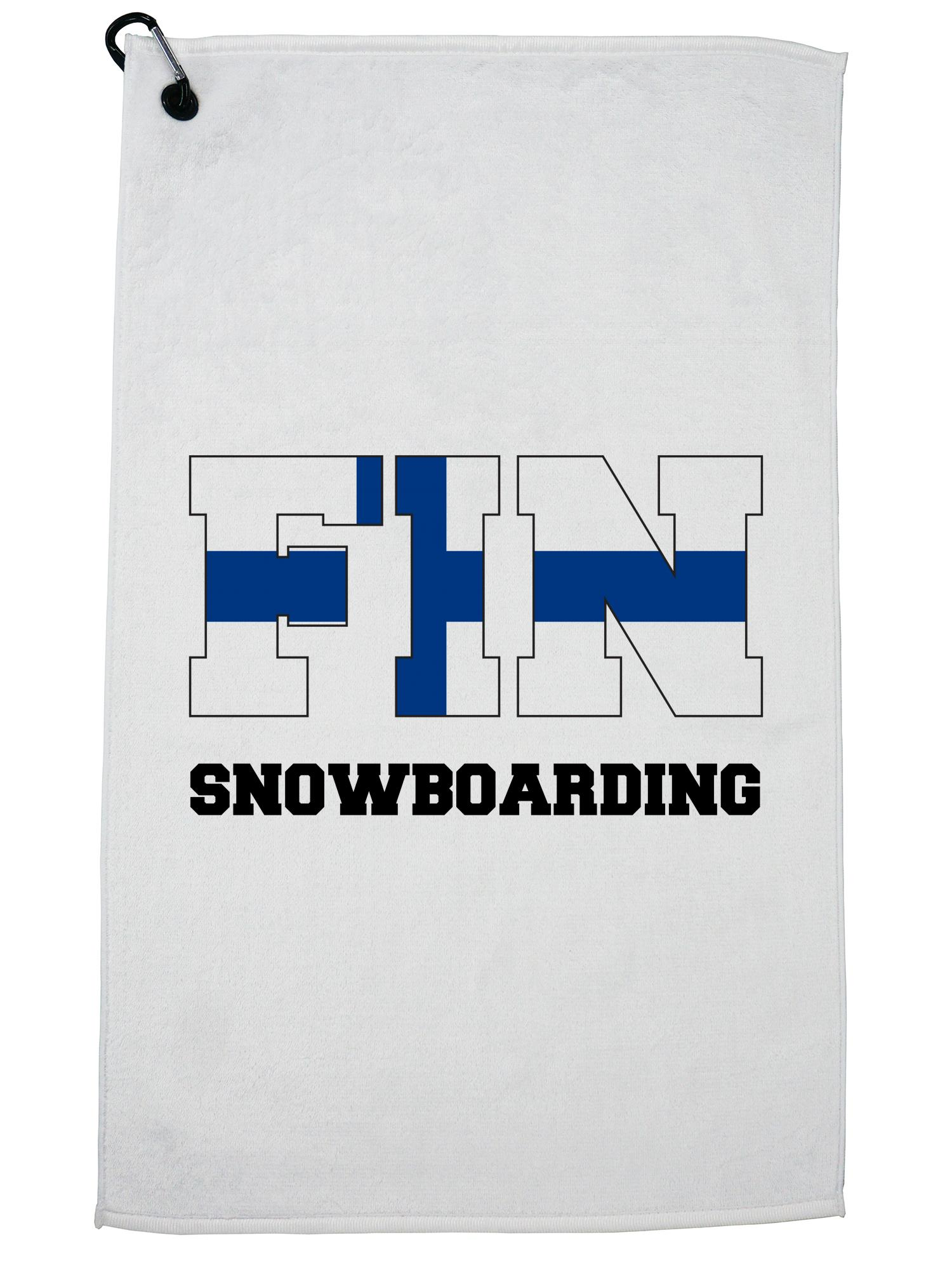 Finland Olympic Snowboarding Flag Silhouette Golf Towel with Carabiner Clip by Hollywood Thread