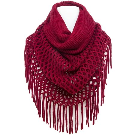 Scarab Collection (TD Collections Women's Winter Netted Fringe Infinity Scarf, Various Styles & Colors )