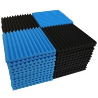 "72 Pack Acoustic Foam Studio Soundproofing Foam Panel Wedge Tiles 12""x12"" Black Blue"