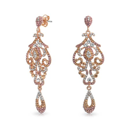 Vintage Style Pink Crystal Lace Chandelier Statement Prom Pageant Dangle Earrings For Women Rose Gold Plated Alloy Painted Lace Earrings