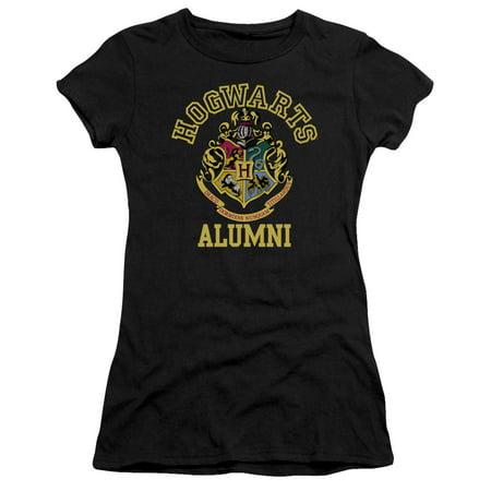 Juniors Black Short - Harry Potter Hogwarts Alumni Short Sleeve Junior Sheer Black