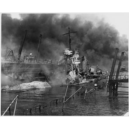Canvas Print Original Caption: Naval photograph documenting the Japanese attack on Pearl Harbor, Hawaii which ini Stretched Canvas 10 x 14 (Hawaiian Original Art)