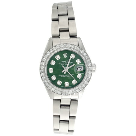 Rolex Oyster Perpetual 6917 Datejust Ladies Steel Diamond Watch Green Dial 1 CT.