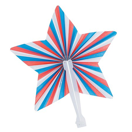 Fun Express - Star Shaped Fan for Fourth of July - Party Supplies - Favors - Fans - Fourth of July - 12 Pieces