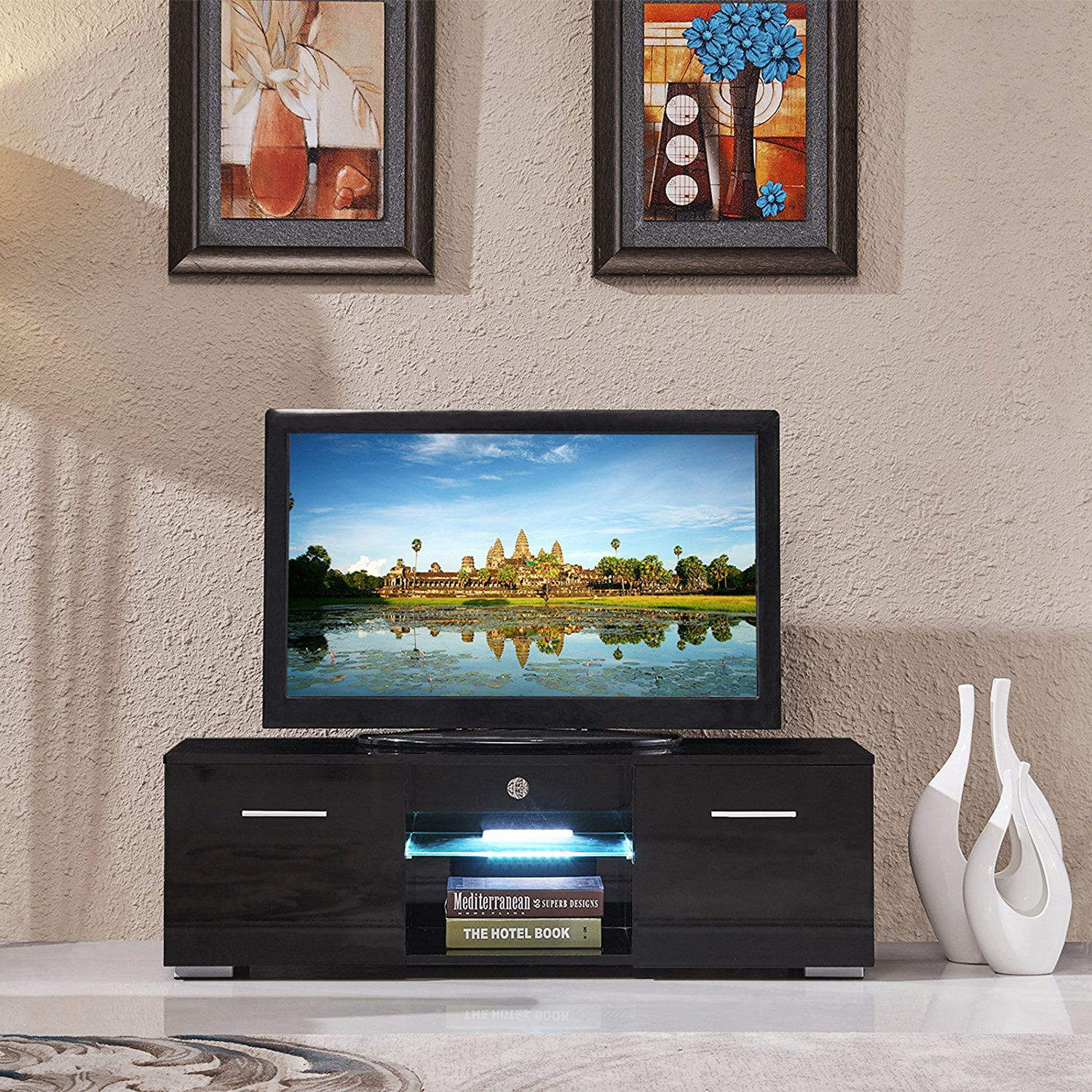 Mecor Tv Stand Media Console Cabinet Led Shelves With 2 Drawers For Living Room Storage High Gloss Black Up To 47 Inch Screens