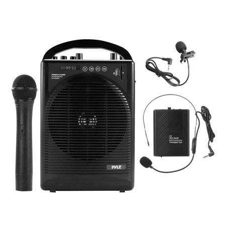 Portable PA Speaker Amplifier & Microphone System, BT Streaming, Built-in Battery, Accessory Kit (Includes Handheld Mic, Headset Mic, Lavalier Mic, Belt Pack Transmitter)