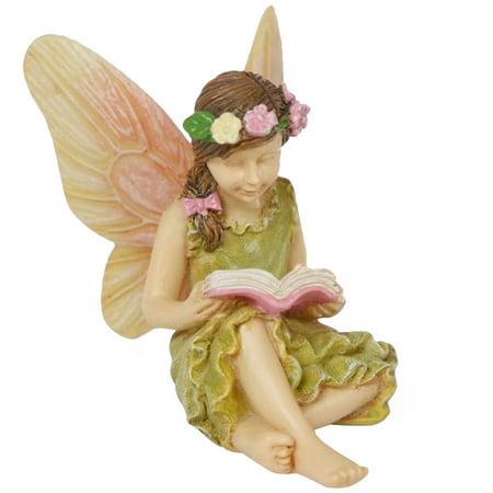Miniature Fairy Garden Accessory Girl Reading Book Figurine Dollhouse Ornament