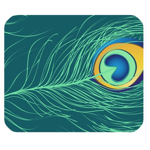 MKHERT Peacock Feather Print Rectangle Mousepad Mat For Mouse Mice Size 9.84x7.87 inches