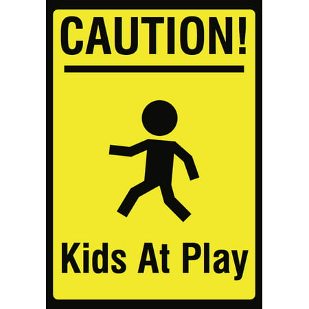 Sigg Kids (Caution! Kids At Play Picture Sign - Children Warning Kid Area Signs - Aluminum)