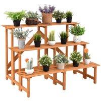 Product Image Costway 3 Tier Wide Wood Plant Stand Flower Pot Holder Display Rack Shelves Step Ladder