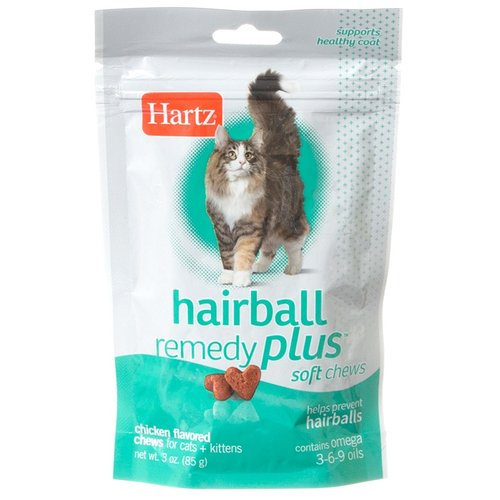 Hartz Hairball Remedy Plus Soft Chews for Cats & Kittens - Savory Chicken Flavor 3 oz