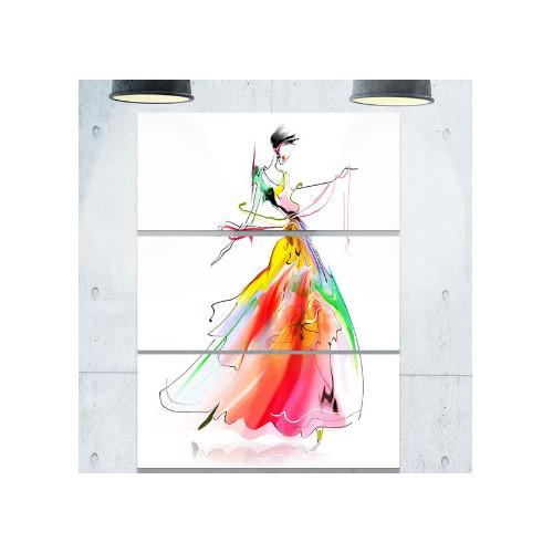 Design Art Young Woman Yellow Red - 3 Piece Graphic Art on Wrapped Canvas Set