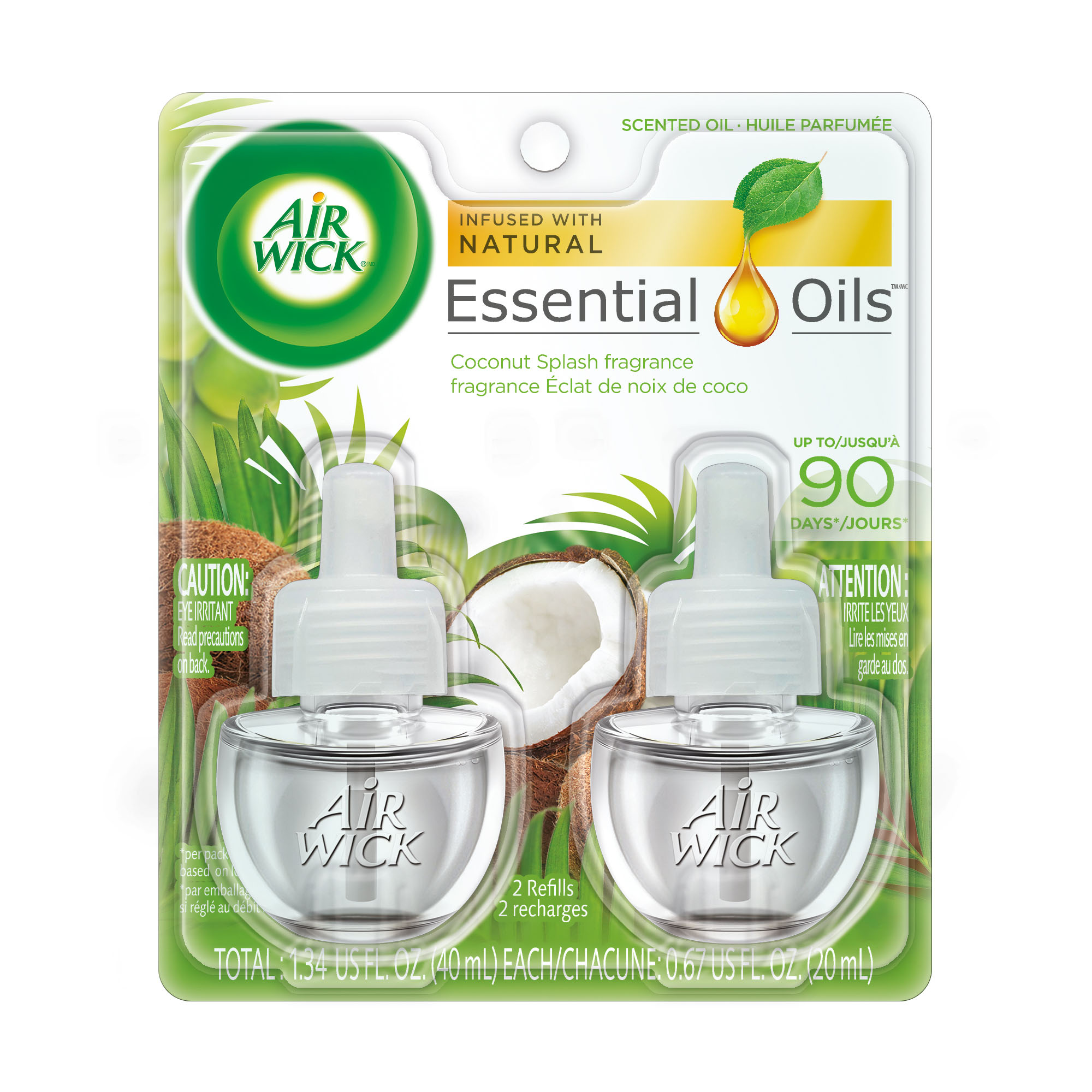 Air Wick Scented Oil 2 Refills, Coconut Splash, (2X0.67oz), Air Freshener