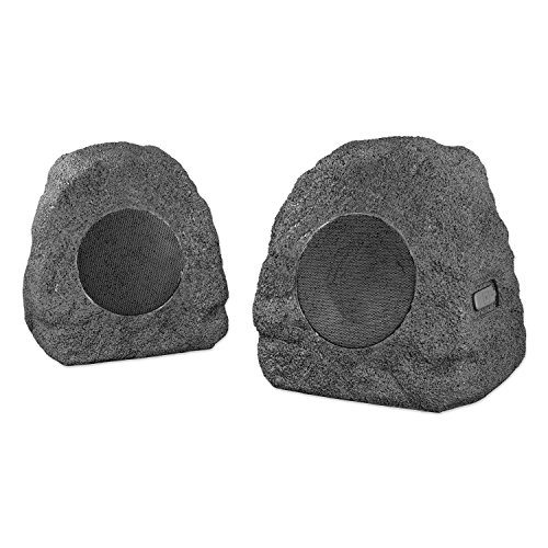 INNOVATIVE TECHNOLOGY Rechargeable Wireless Outdoor Grey Rock Speakers  Pair ITSBO358P