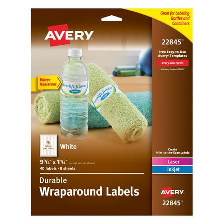 Avery(R) Durable Water-Resistant White Wraparound Labels, 9-3/4 x 1-1/4, Pack of 40 (22845) - Halloween Food Label Printables