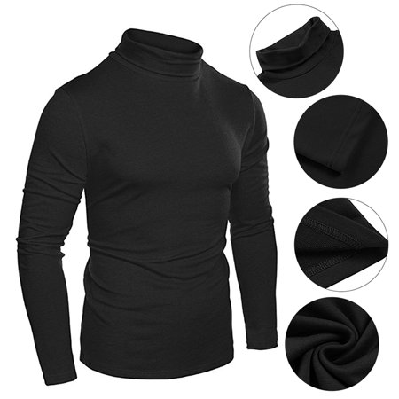 Second Layer Thermal Pullover (Mens Long Sleeve Essential Turtleneck Thermal T-Shirt Sweatshirt Slim Fit Pullover Tops)