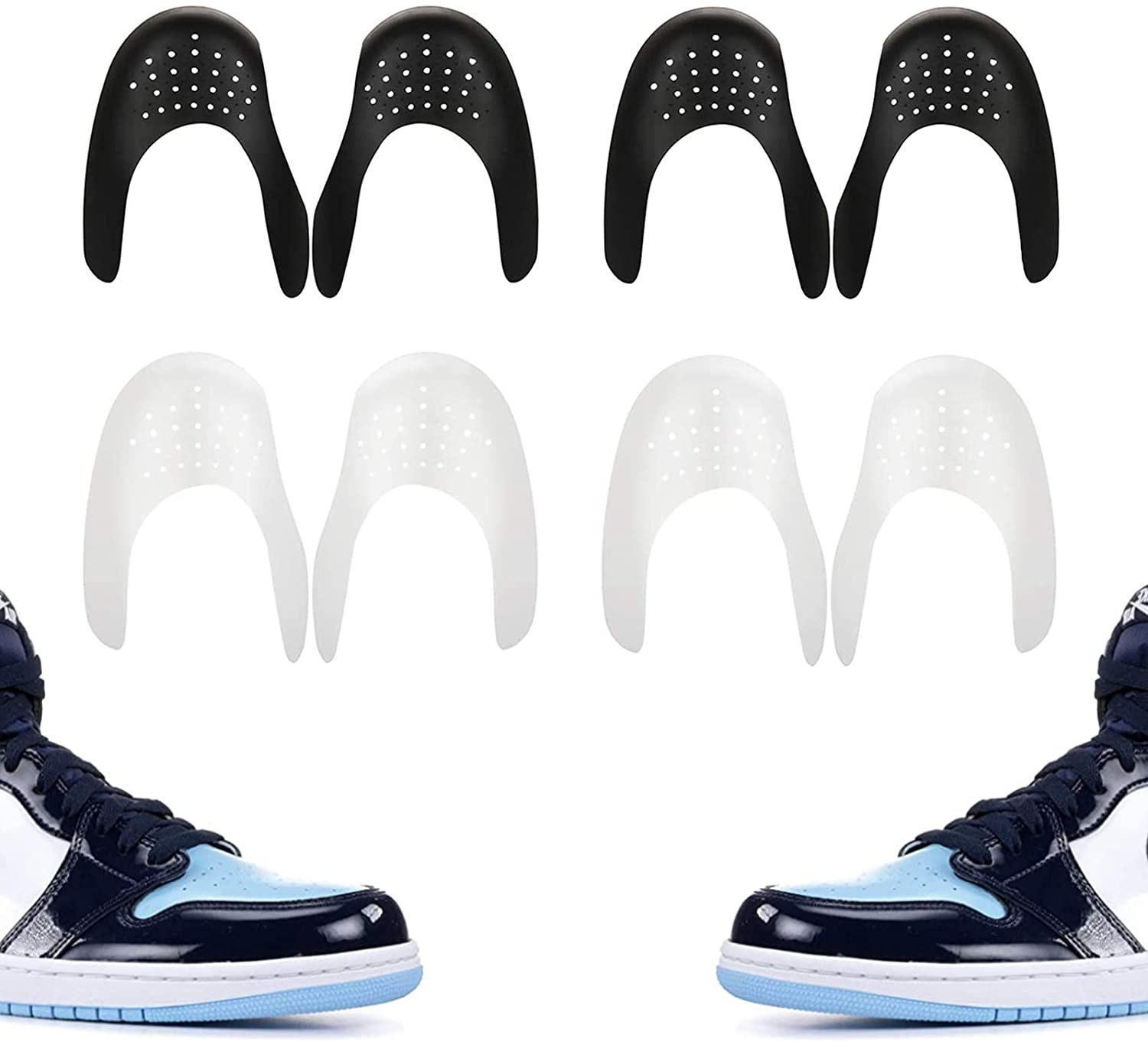Shoe Crease Protectors Toe Box Decreaser Prevent Shoes Crease Indentation Anti-Wrinkle Shoes Creases Protector Men's 7-12(4Pairs),Black and White