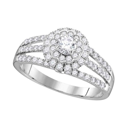 14kt White Gold Womens Round Diamond Solitaire Halo Bridal Wedding Engagement Ring 1.00 Cttw (Certified)